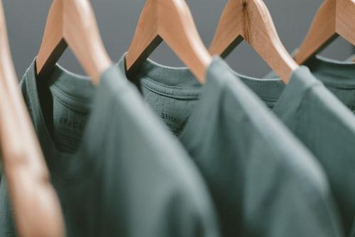 Shirts on a clothing rack